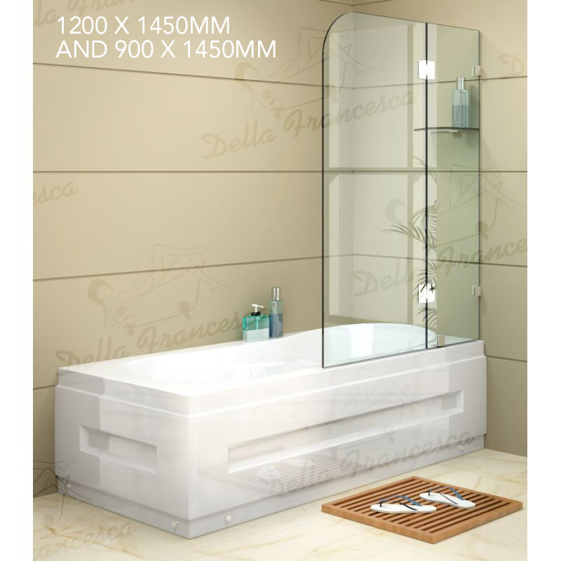 Small Bathroom With Frameless Shower: Frameless Glass Bath Shower Screen Panel 2 Sizes