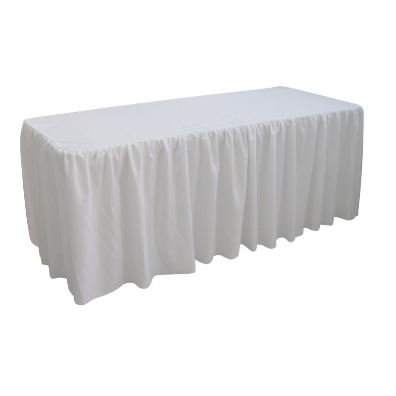Gathered Drape White Table Cloth Trestle Cover 1 8m Buy