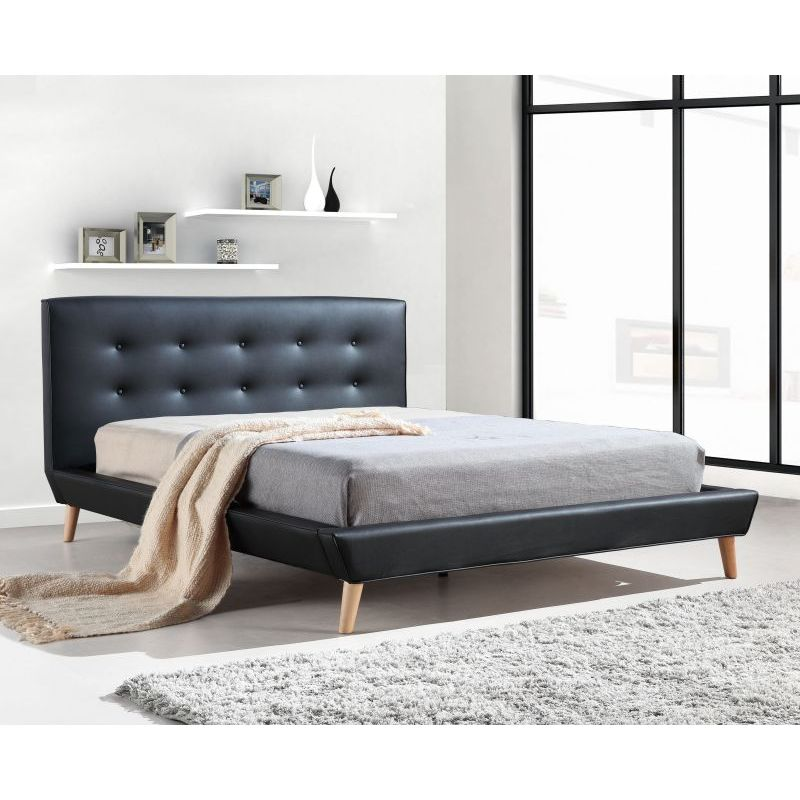 Black tufted bed frame 28 images queen size platform for Tufted headboard queen bed frame