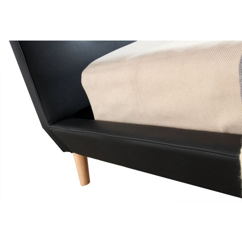 Button Tufted Double Pu Leather Bed Frame In Black Buy