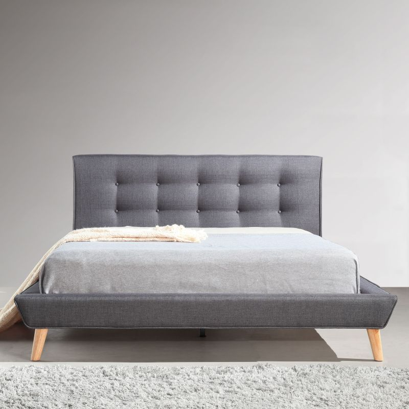 Double Linen Fabric Button Tufted Bed Frame In Grey Buy