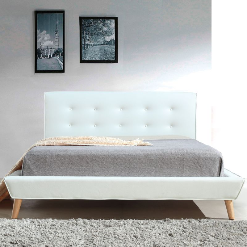 button tufted double pu leather bed frame in white buy double bed frame. Black Bedroom Furniture Sets. Home Design Ideas