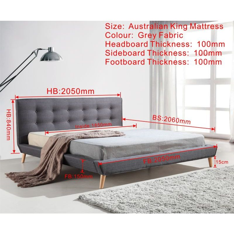 king linen fabric button tufted bed frame in grey buy