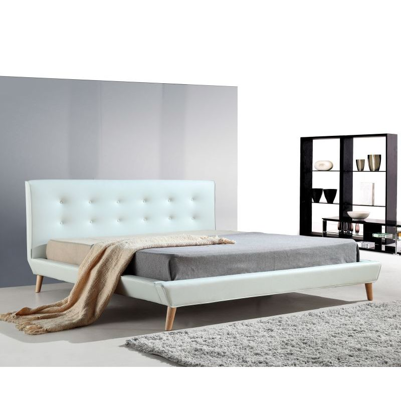 button tufted king pu leather bed frame in white buy