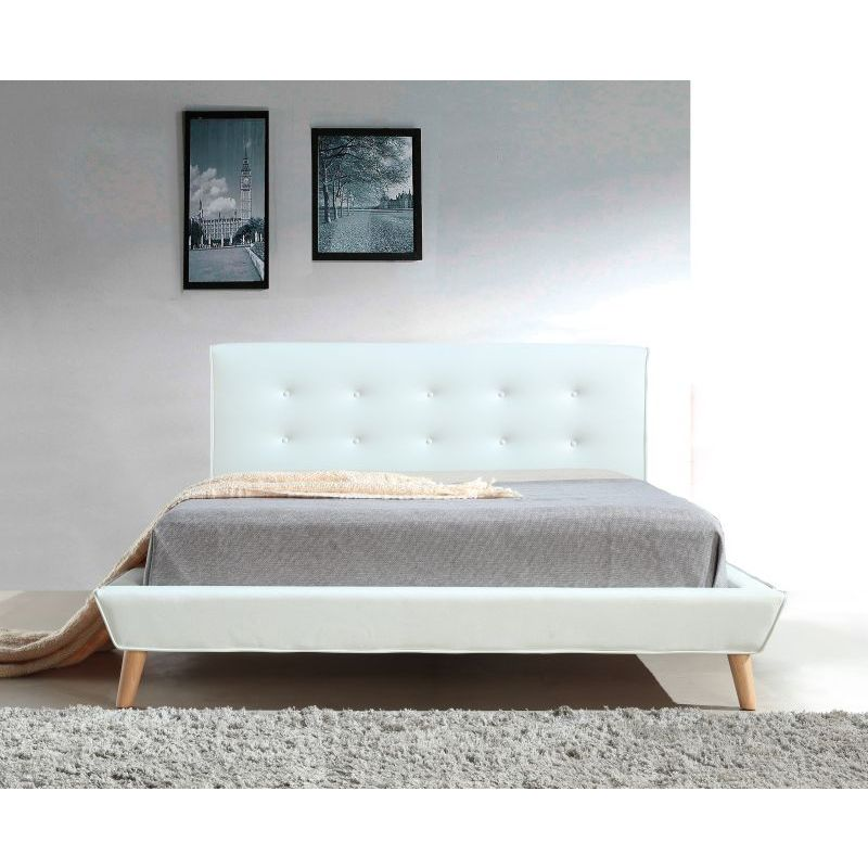 button tufted queen pu leather bed frame in white buy queen bed frame. Black Bedroom Furniture Sets. Home Design Ideas