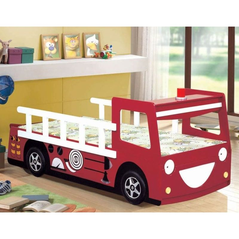 Broken Bedroom Door Fire Engine Bedroom Accessories Bedroom Before And After Makeover Warm Bedroom Colors And Designs: Kid's Single Fire Truck Engine Bed Frame Red White