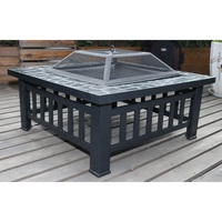 Square Metal Outdoor Fire Pit & Grill w/ Lid 18in