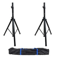 2x Black Tripod DJ/PA Speaker Stand Set + Carry Bag