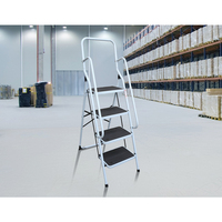 Non-Slip Dual Handrail Foldable Steel 4 Step Ladder