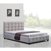Palermo Queen Deluxe Fabric Bed Frame in Beige