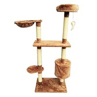 2 Prong Plush Cat Scratching Post in Brown 150cm