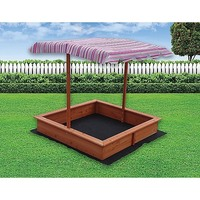 Kids Wooden Sandpit w/ Canopy & Ground Sheet 120cm