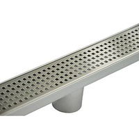 Square Pattern Tile Insert Linear Shower Grate 80cm