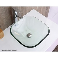 Modern Square Glass Counter Top Bathroom Basin Sink
