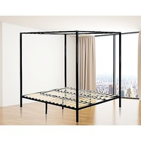 Modern King Size 4 Poster Bed Frame in Black