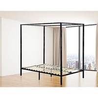Modern Queen Size 4 Poster Bed Frame in Black