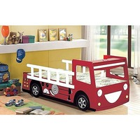 Kid's Single Fire Truck Engine Bed Frame Red White