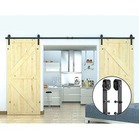 Steel Sliding Barn Door Hardware Set in Black 3.6m