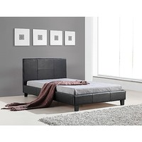 Stitched King Single PU Leather Bed Frame in Black