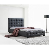 King Single PU Leather Tufted Bed Frame in Black