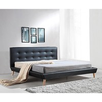 Button Tufted King PU Leather Bed Frame in Black