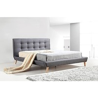 Double Linen Fabric Button Tufted Bed Frame in Grey