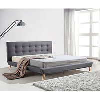 King Linen Fabric Button Tufted Bed Frame in Grey