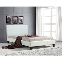 King Single PU Leather Stitched Bed Frame in White