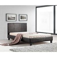 Stitched King Single PU Leather Bed Frame in Brown