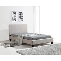 King Single Linen Fabric Stitched Bed Frame Beige