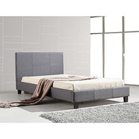 Stitched King Single Linen Fabric Bed Frame in Grey