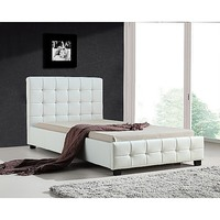 King Single PU Leather Tufted Bed Frame in White