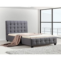 Deluxe King Single Linen Fabric Bed Frame in Grey