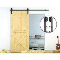 Rustic Barn Style Sliding Door Rail in Black 1.8m