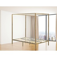 Classic Queen Size 4 Post Metal Bed Frame in Gold