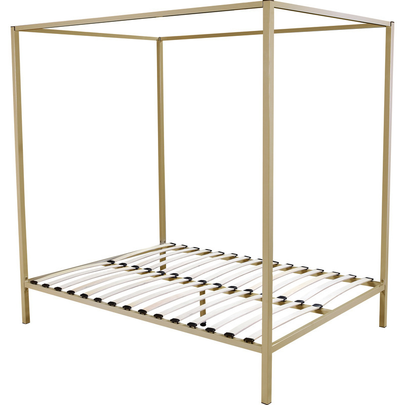 classic queen size 4 post metal bed frame in gold buy