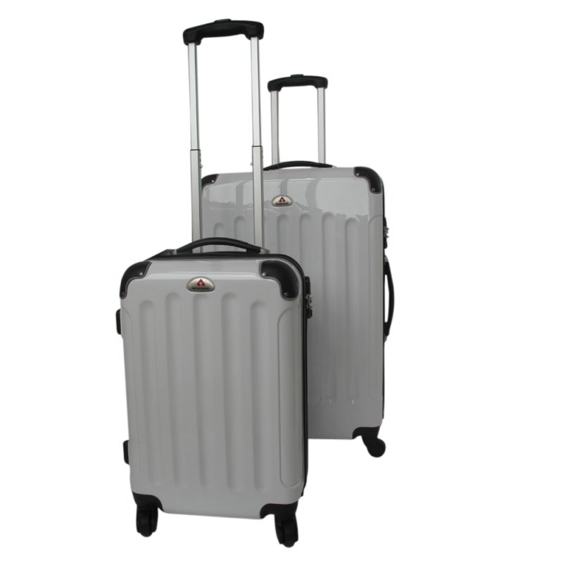 2 size light hard case grey 4 wheel luggage set buy 2 piece sets 136057. Black Bedroom Furniture Sets. Home Design Ideas