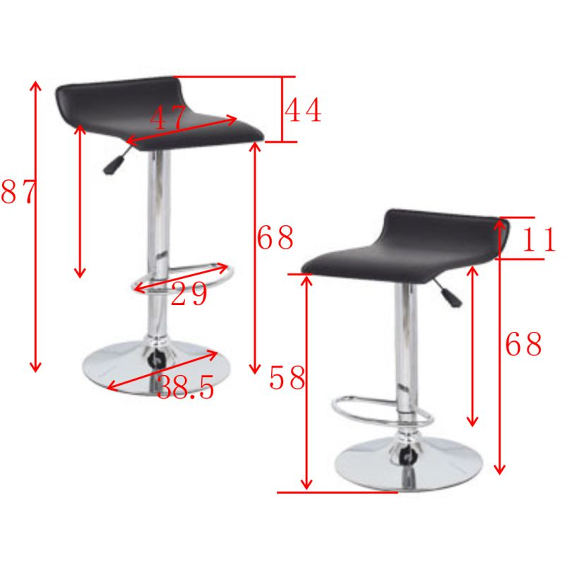 2x S Curve Gas Lift Pvc Leather Bar Stools In Black Buy