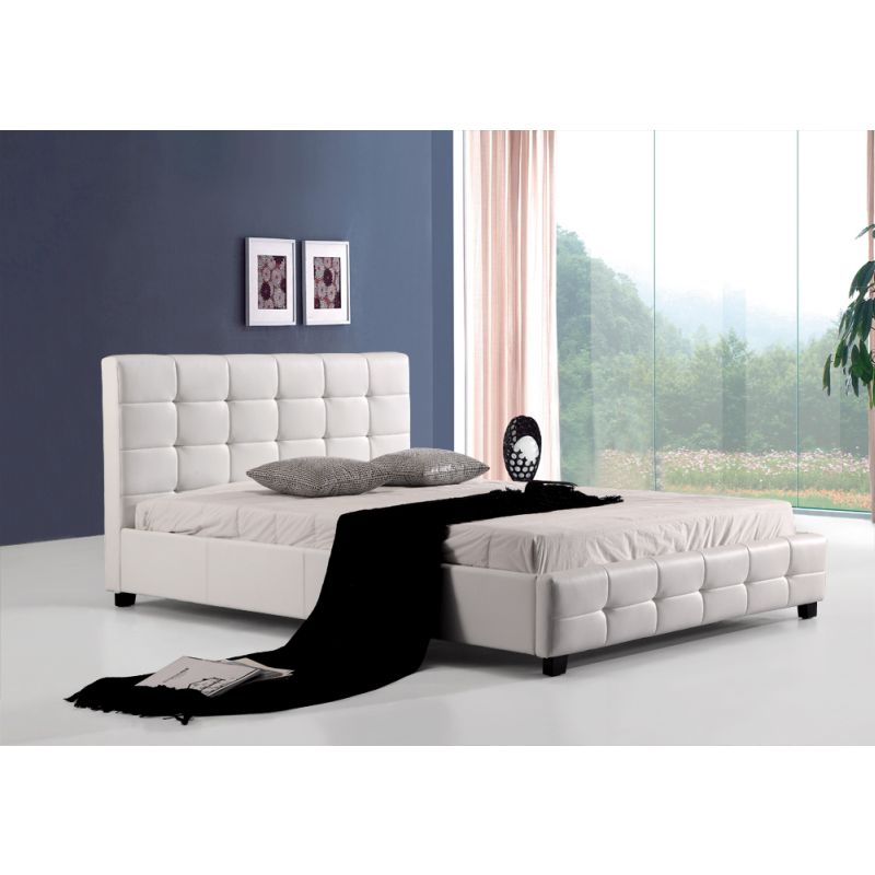 palermo deluxe queen pu leather bed frame white - Queen Bed Frame White