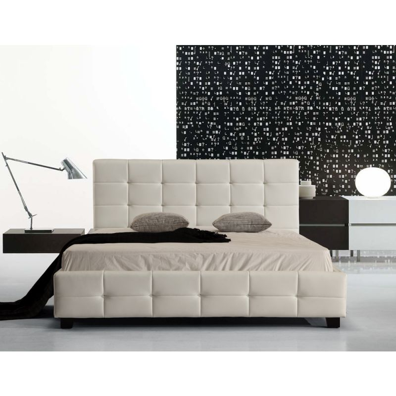 palermo deluxe queen pu leather bed frame white buy queen bed frame 135332. Black Bedroom Furniture Sets. Home Design Ideas
