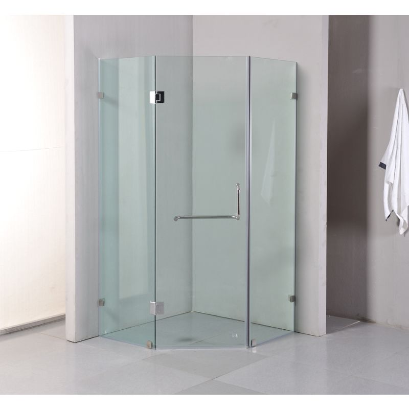 Frameless Glass Diamond Shower Screen w Door 1mx1m | Buy