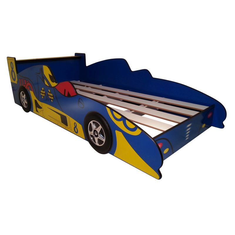 Kids Toddler Single Sports Race Car Bed In Blue