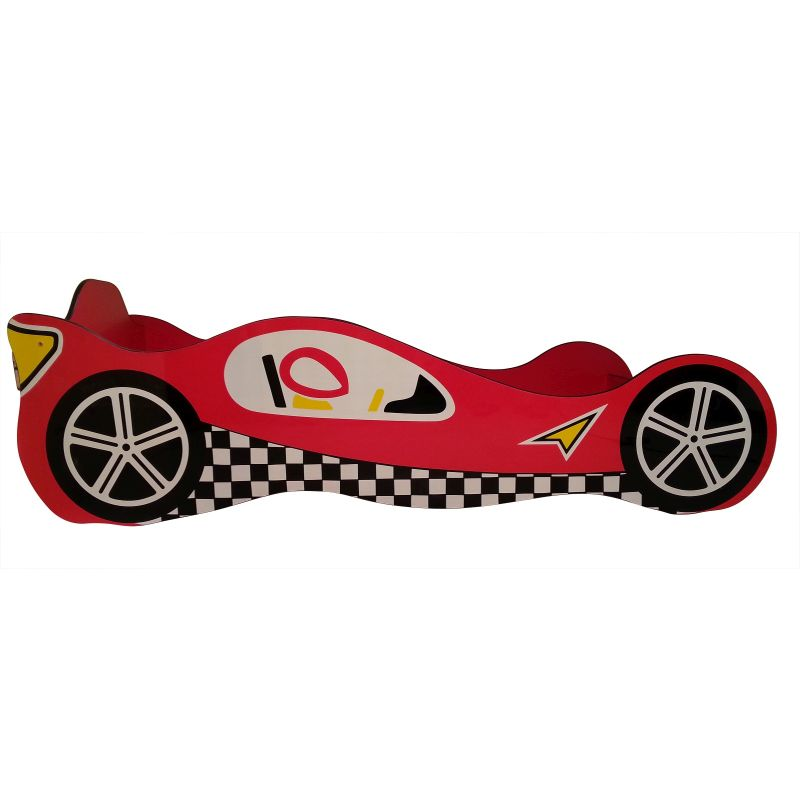 Kid Novelty Wooden Racing Race Car Bed In Red