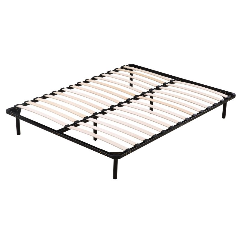 Queen Size Wooden Slatted Metal Bed Base In Black Buy