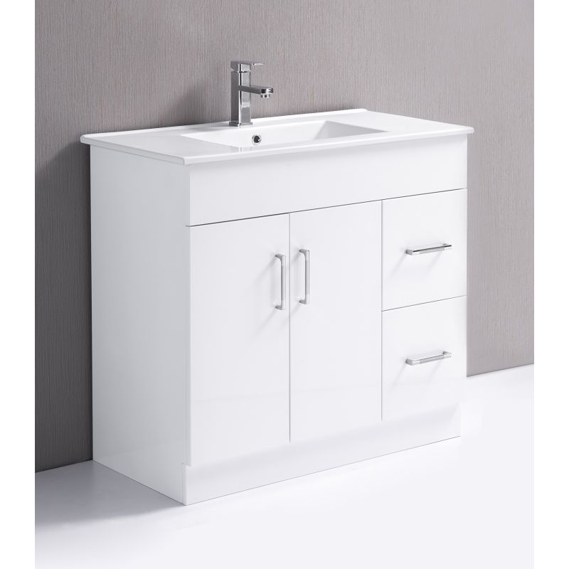 White Bathroom Vanity Cabinet Unit W Ceramic Top Buy