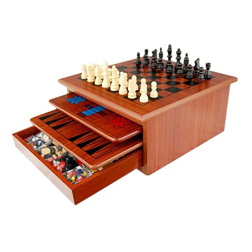 10 In 1 Brown Wooden Slide Out Chess Board Game Set