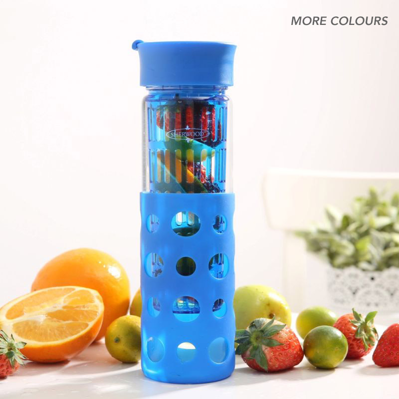 Silicone Wrapped Glass Fruit Infusion Water Bottle Buy