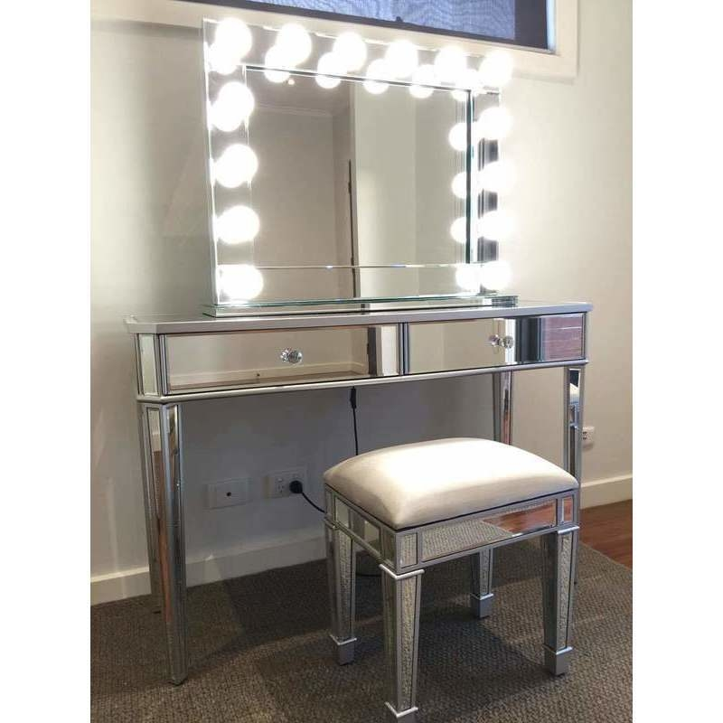 H M S Remaining Mirrored 2 Drawers Makeup Vanity Dressing Table