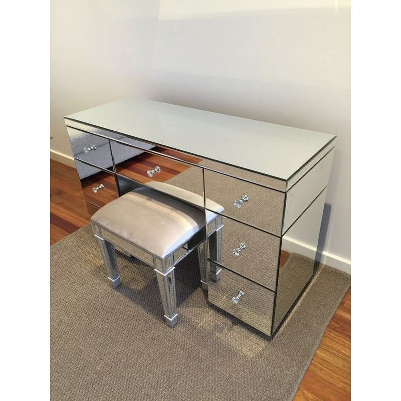 Mirrored 7 drawer vanity dressing table in silver buy for Silver vanity table