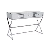 Mirrored 3 Drawer X-Leg Vanity Dressing Table 120cm